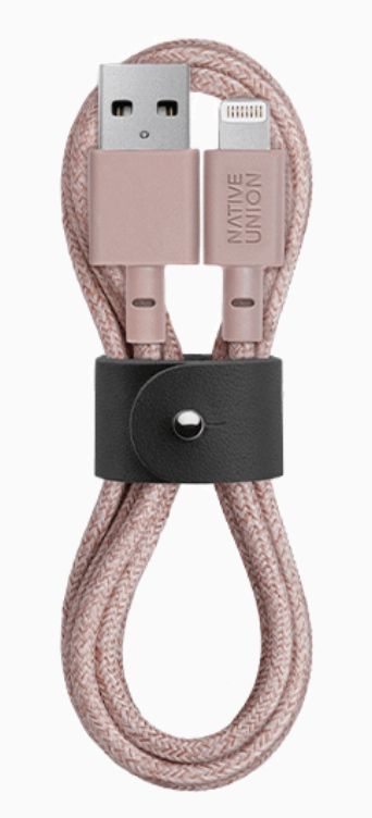 Native Union Belt Cable Ultra Strength Lightning Cable 1.2m - Rose at Small Dog Electronics