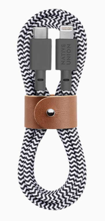 Native Union Belt Cable Ultra Strength USB-C to Lightning Cable 1.2m - Zebra at Small Dog Electronics