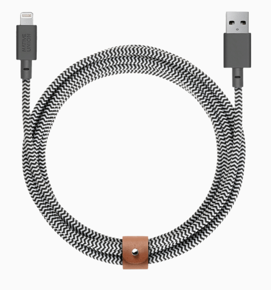 Native Union Night Cable Ultra Strength Lightning Cable 10ft - Zebra at Small Dog Electronics