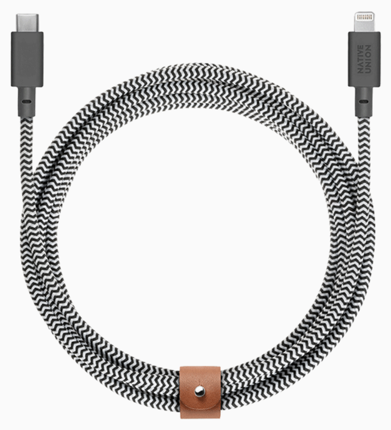 Native Union Belt Cable Ultra Strength Lightning to USB-C 3m - Zebra at Small Dog Electronics