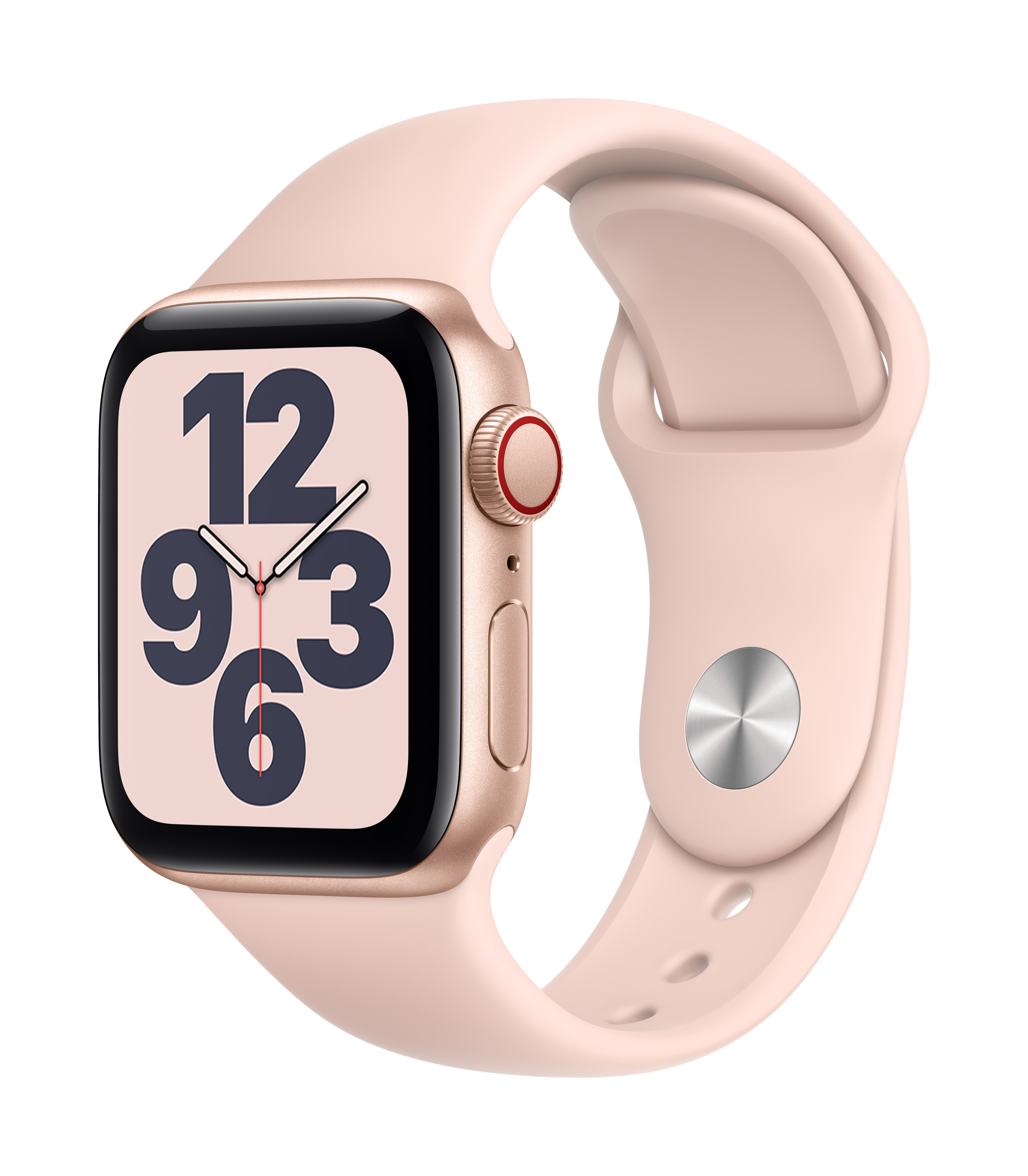 Apple Watch SE GPS + Cellular 40mm Gold Aluminum w/ Pink Sand Sport Band at Small Dog Electronics