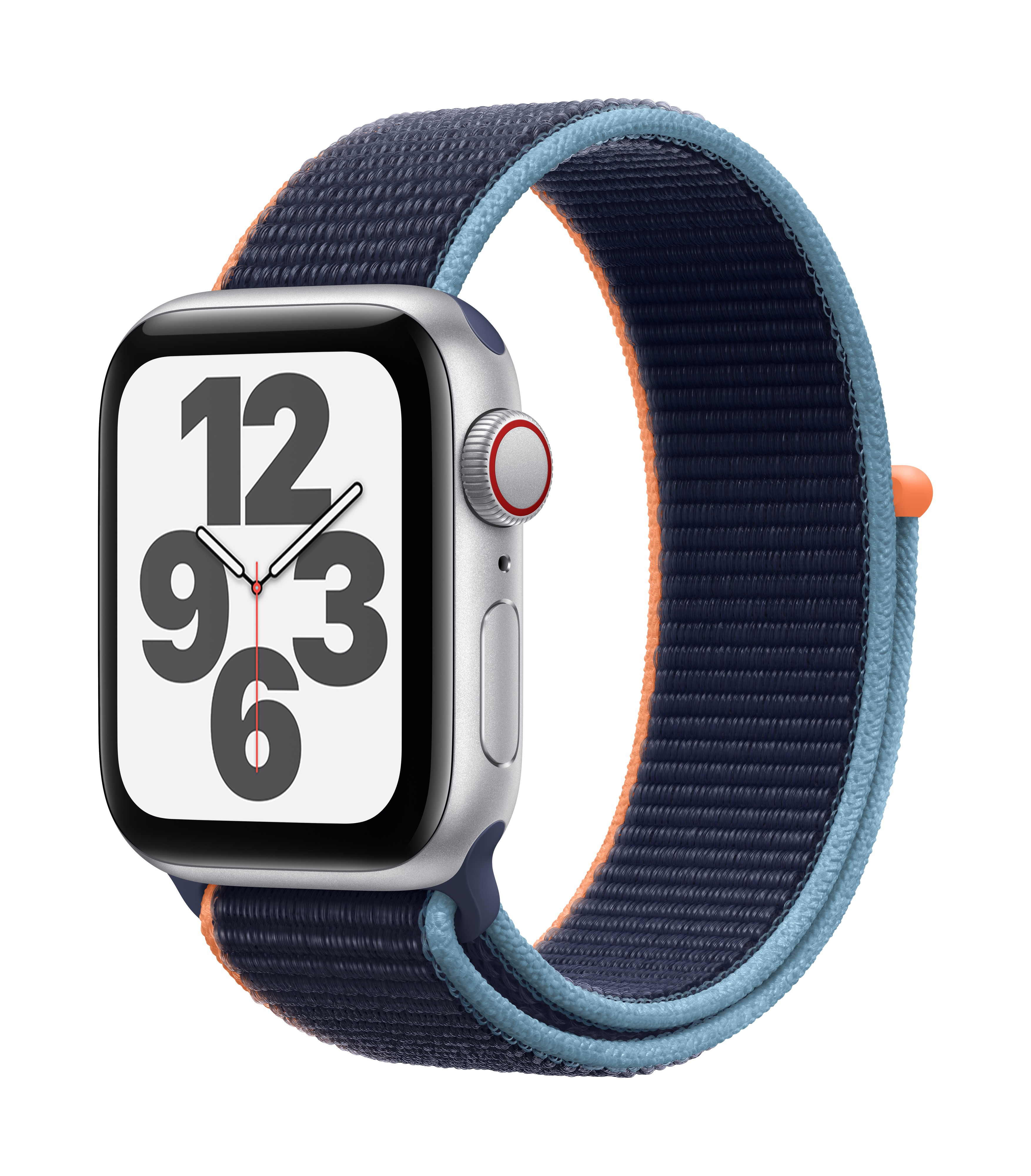 Apple Watch SE GPS + Cellular 40mm Silver Aluminum w/ Deep Navy Sport Loop at Small Dog Electronics