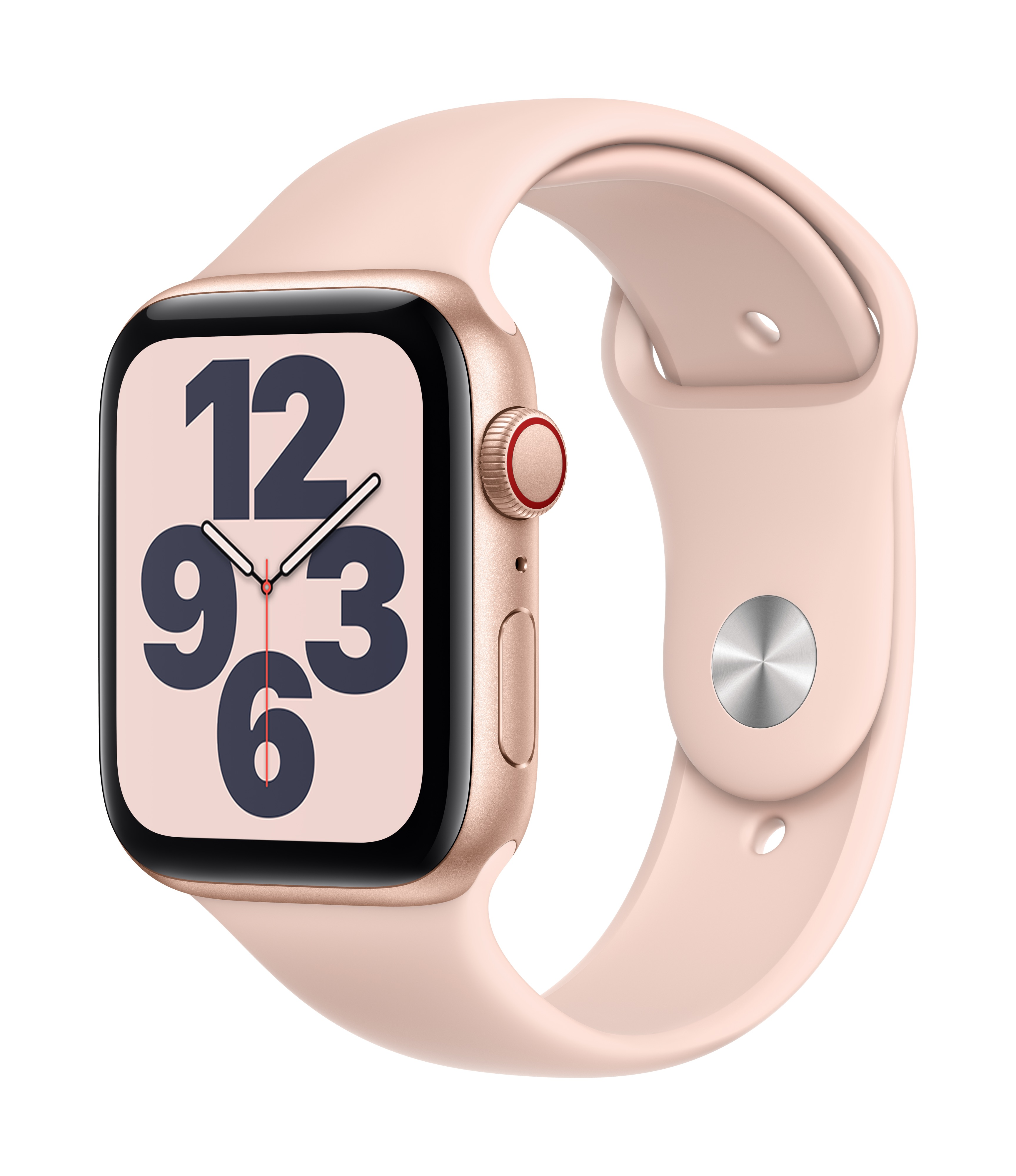 Apple Watch SE GPS + Cellular 44mm Gold Aluminum w/ Pink Sand Sport Band at Small Dog Electronics