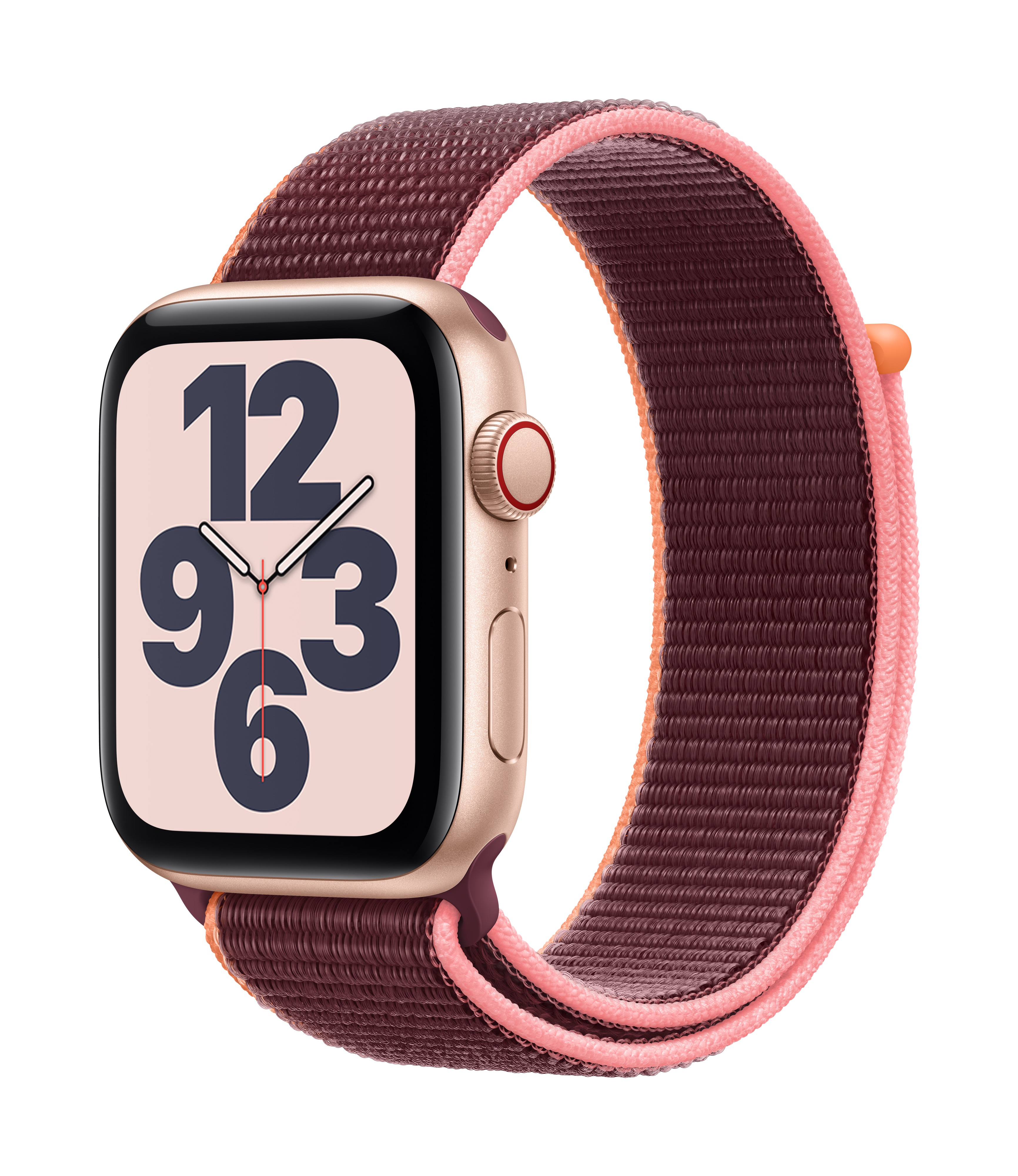 Apple Watch SE GPS + Cellular 44mm Gold Aluminum w/ Plum Sport Loop at Small Dog Electronics