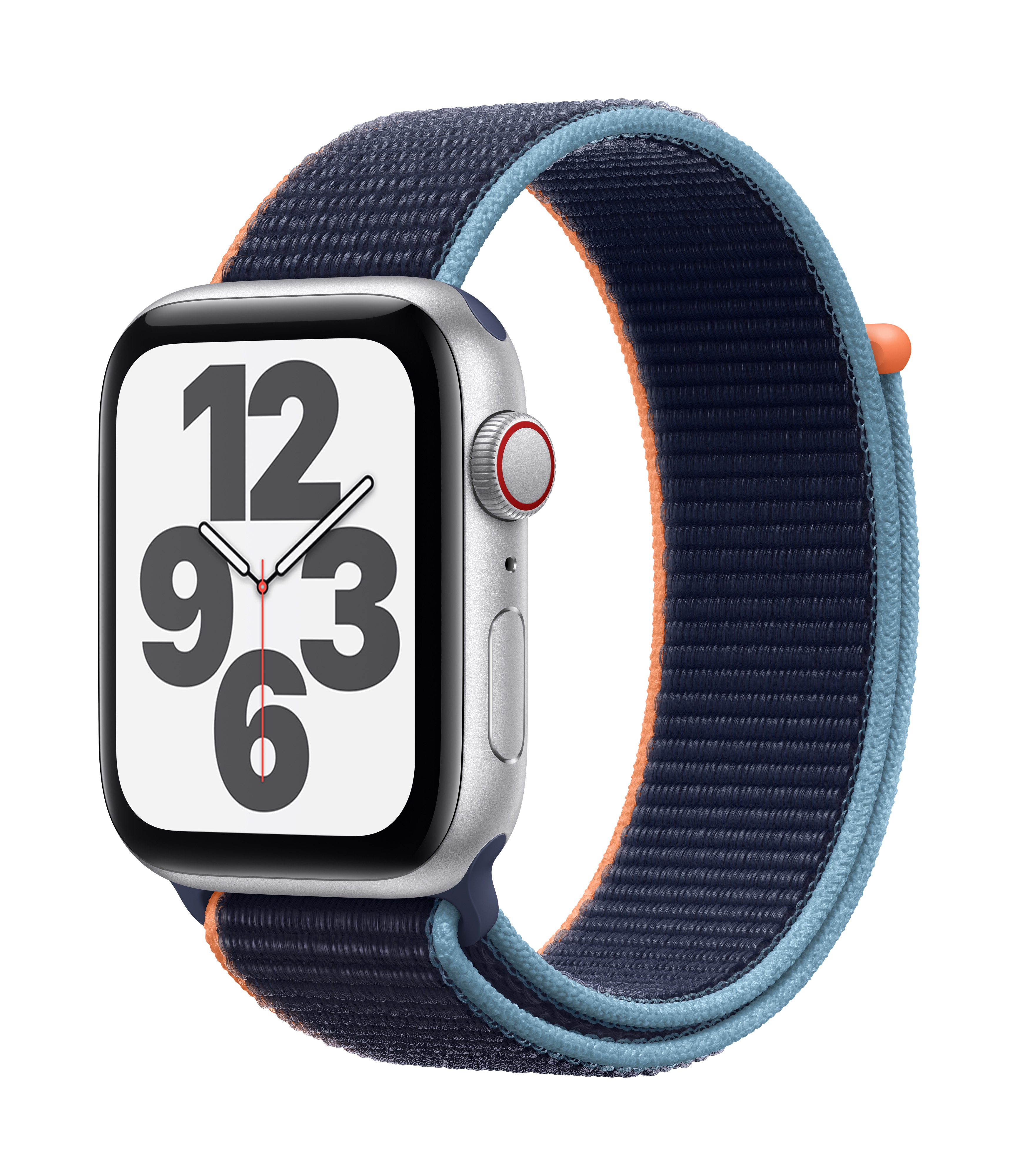 Apple Watch SE GPS + Cellular 44mm Silver Aluminum w/ Deep Navy Sport Loop at Small Dog Electronics