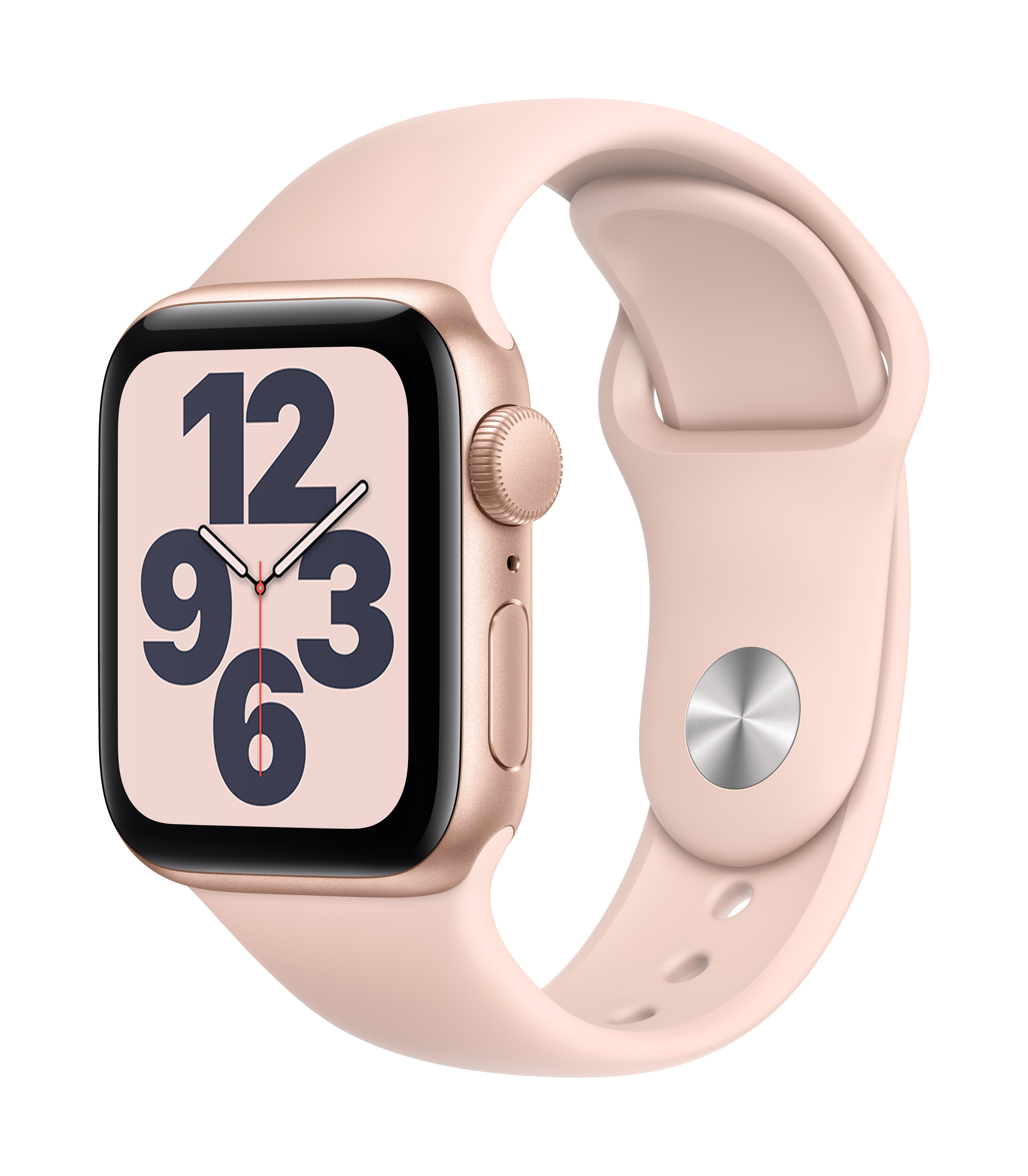 Apple Watch SE GPS 40mm Gold Aluminum w/ Pink Sand Sport Band at Small Dog Electronics