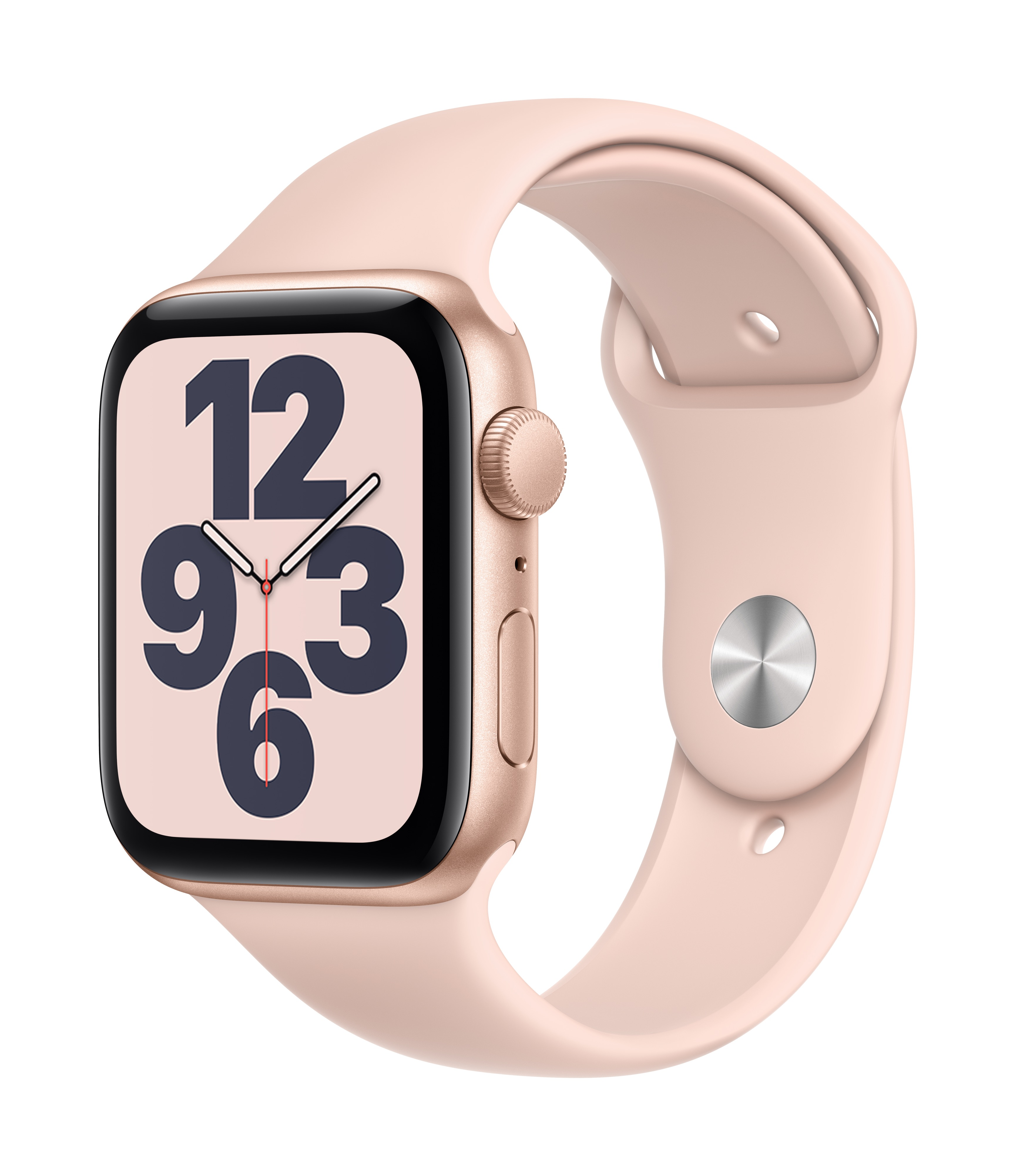Apple Watch SE GPS 44mm Gold Aluminum w/ Pink Sand Sport Band at Small Dog Electronics