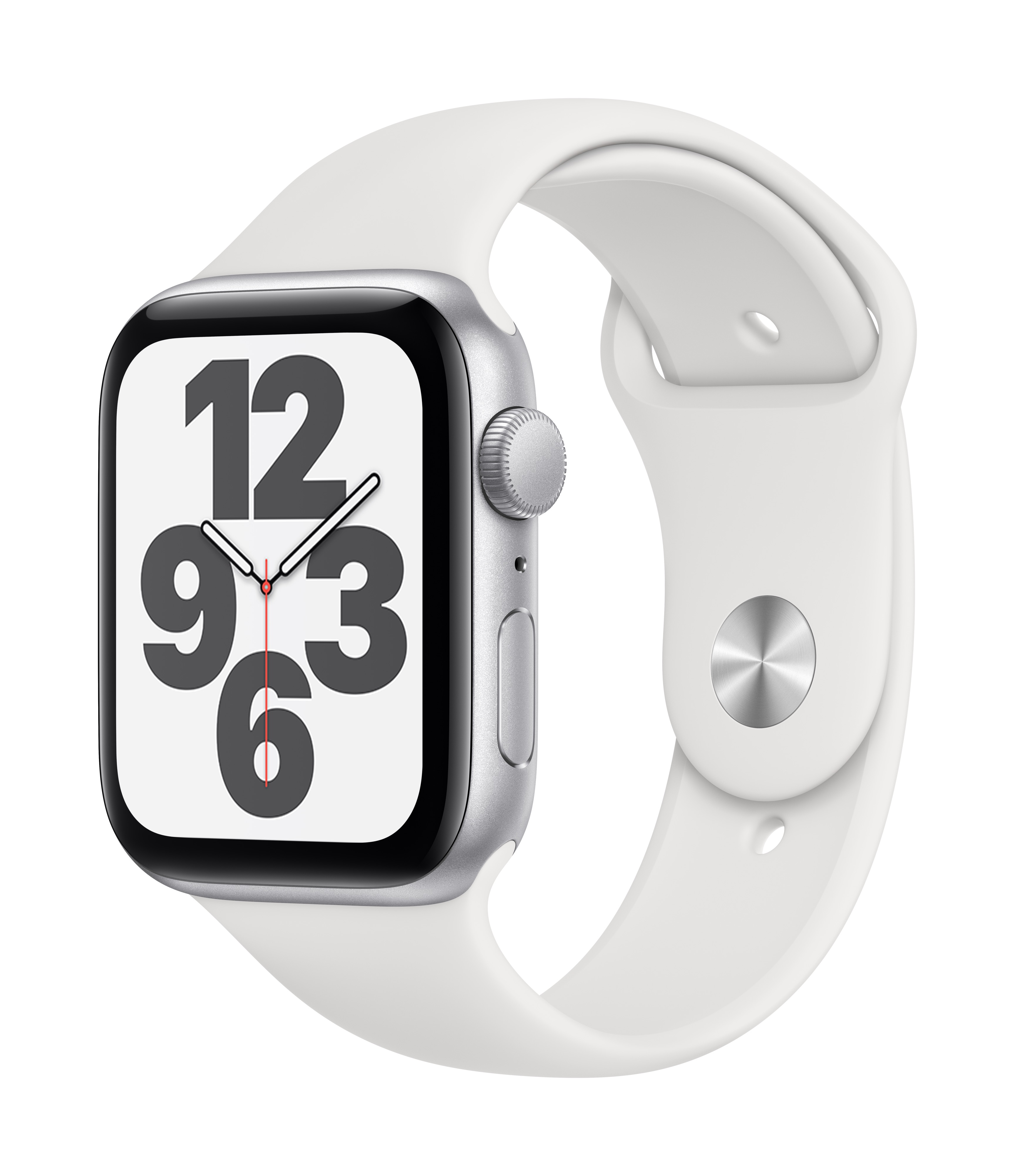 Apple Watch SE GPS 44mm Silver Aluminum w/ White Sport Band at Small Dog Electronics