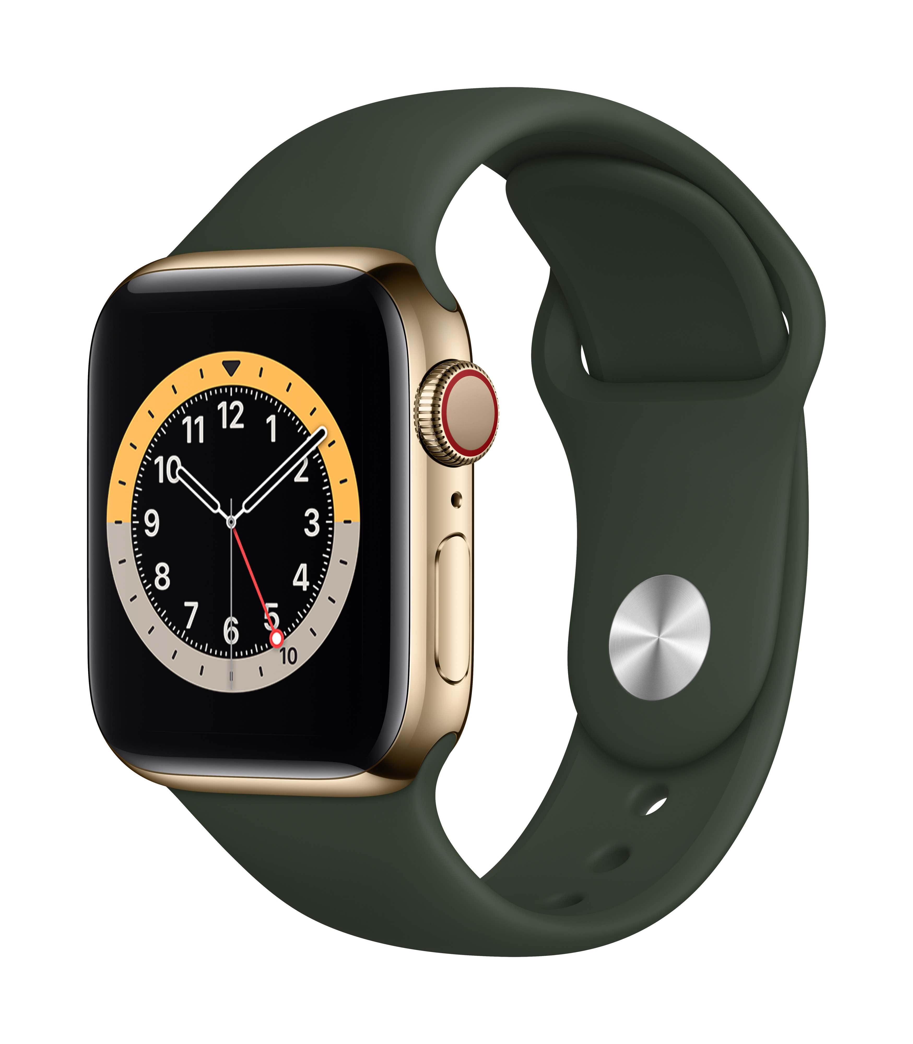 Apple Watch Series 6 GPS + Cellular 40mm Gold Stainless Steel Case w/ Cyprus Green Sport Band at Small Dog Electronics