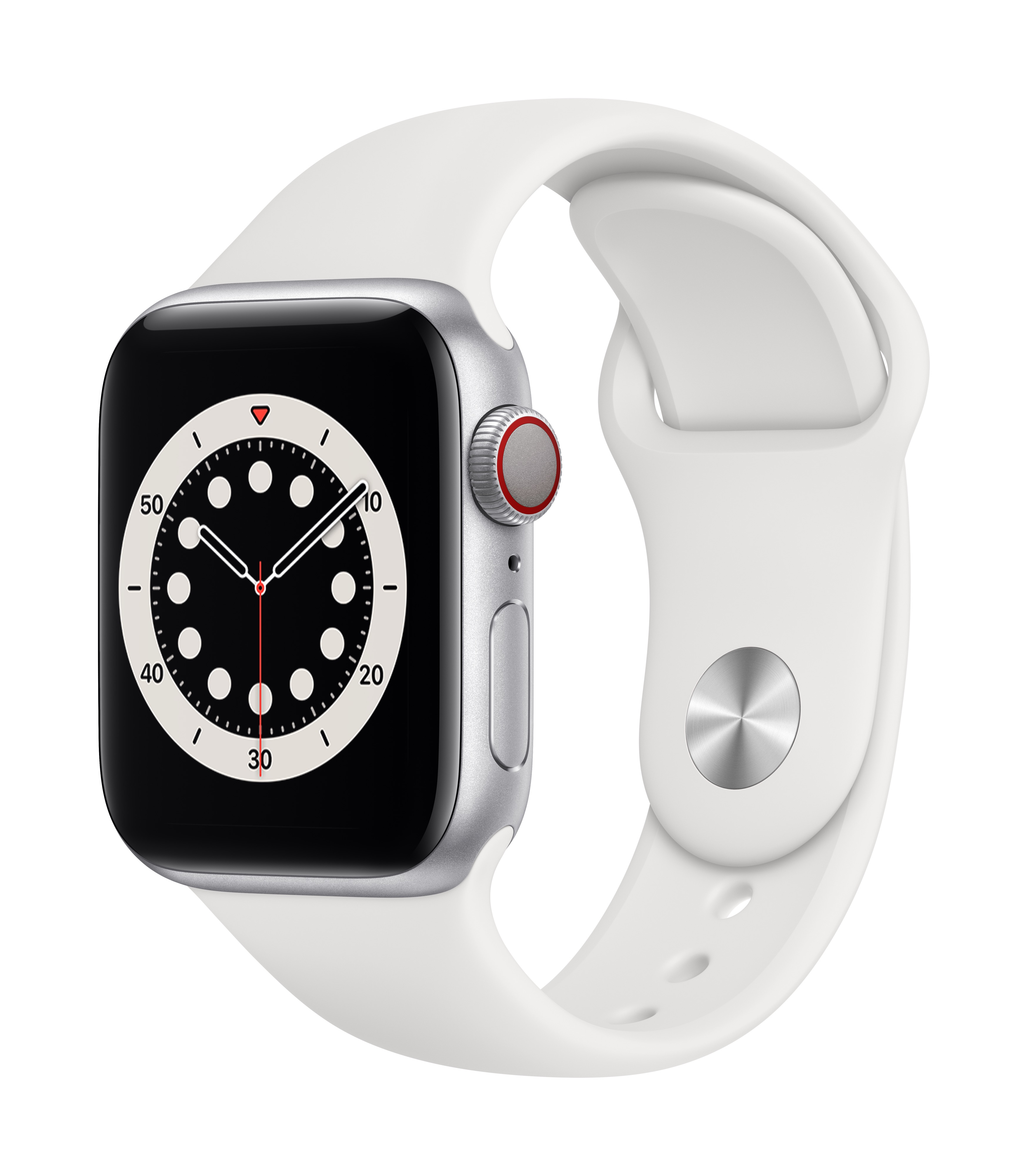 Apple Watch Series 6 GPS + Cellular 40mm Silver Aluminum w/ White Sport Band at Small Dog Electronics