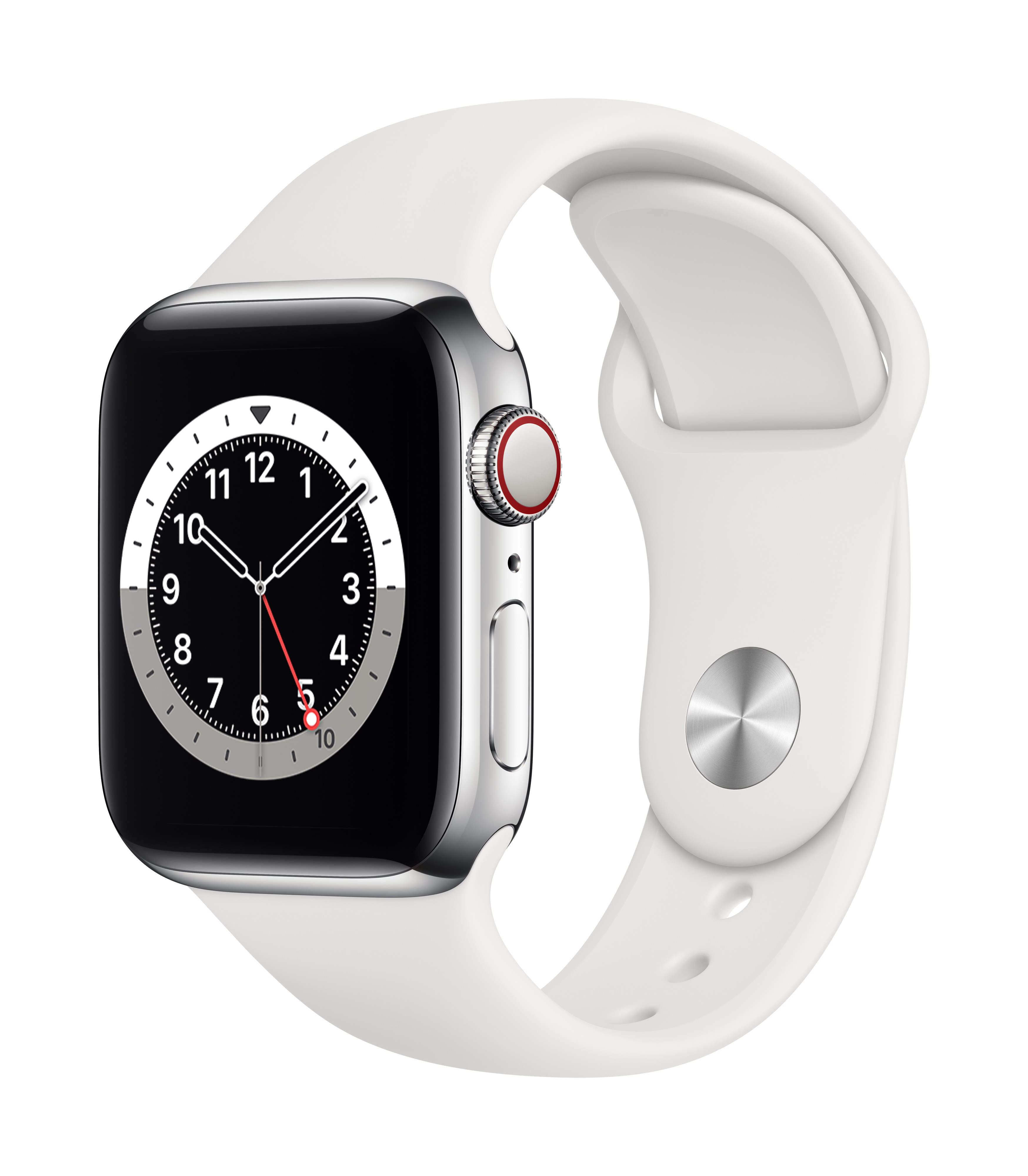 Apple Watch Series 6 GPS + Cellular 40mm Silver Stainless Steel Case w/ White Sport Band at Small Dog Electronics
