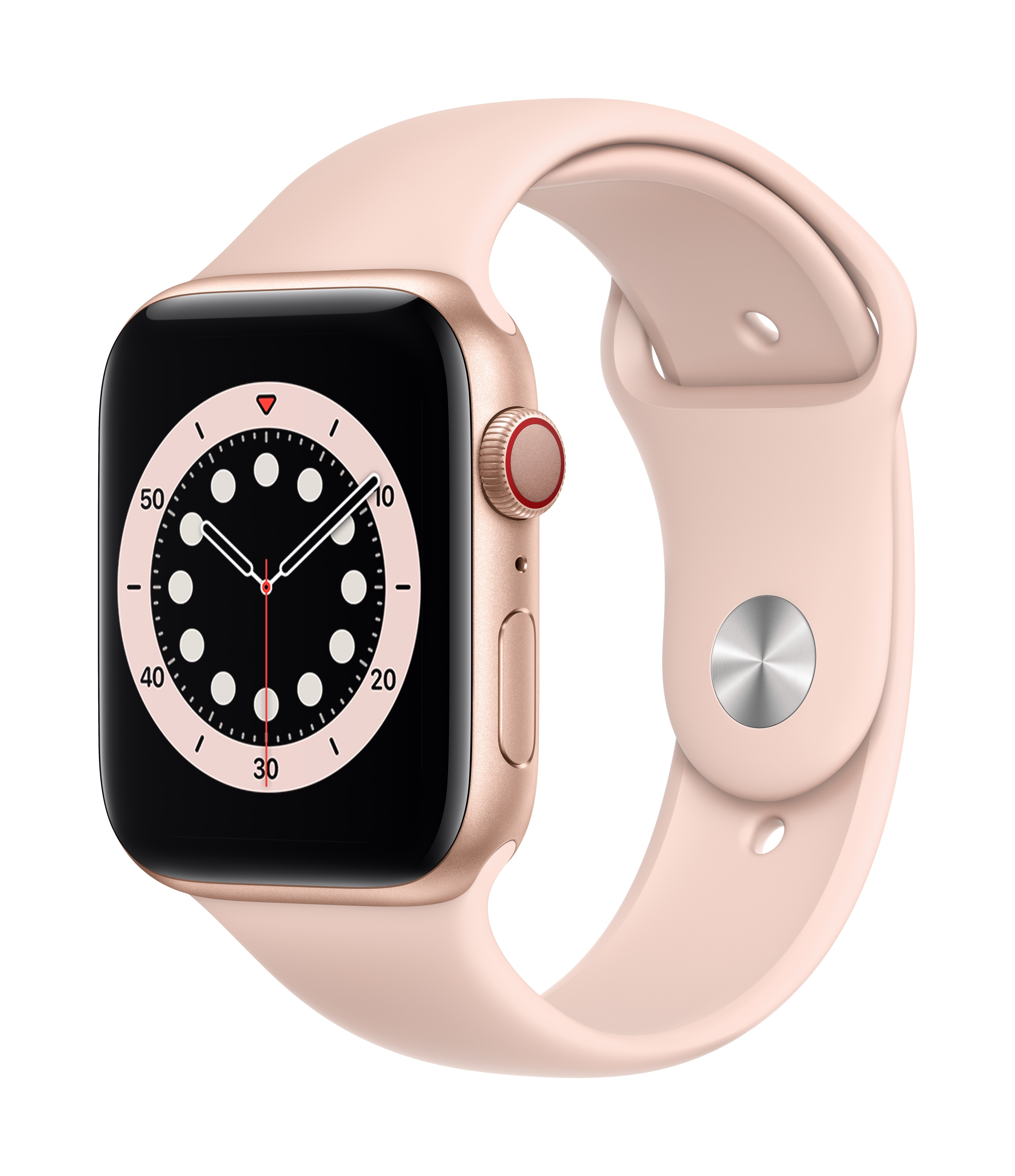 Apple Watch Series 6 GPS + Cellular 44mm Gold Aluminum w/ Pink Sand Sport Band at Small Dog Electronics