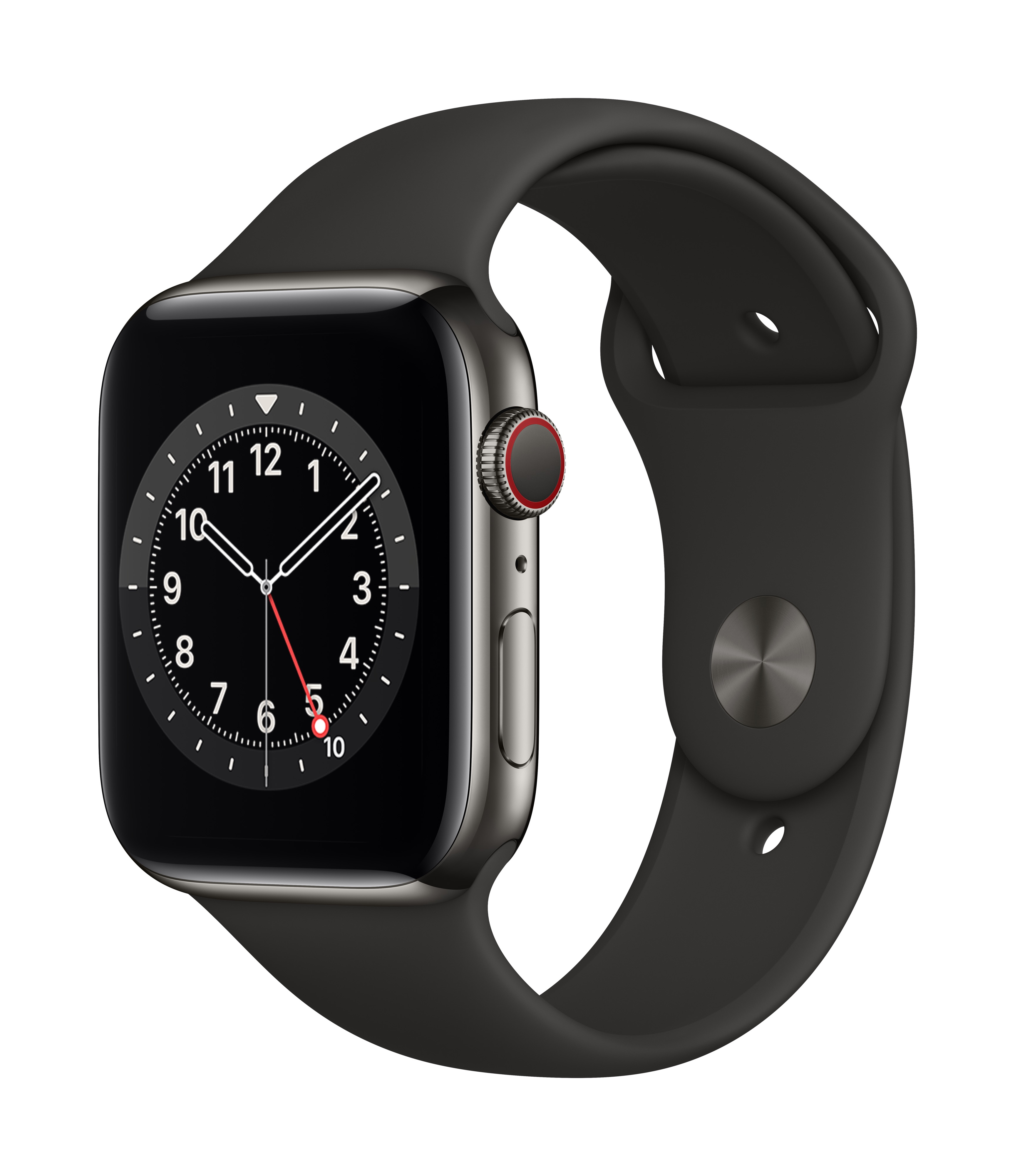 Apple Watch Series 6 GPS + Cellular 44mm Graphite Stainless Steel Case w/ Black Sport Band at Small Dog Electronics