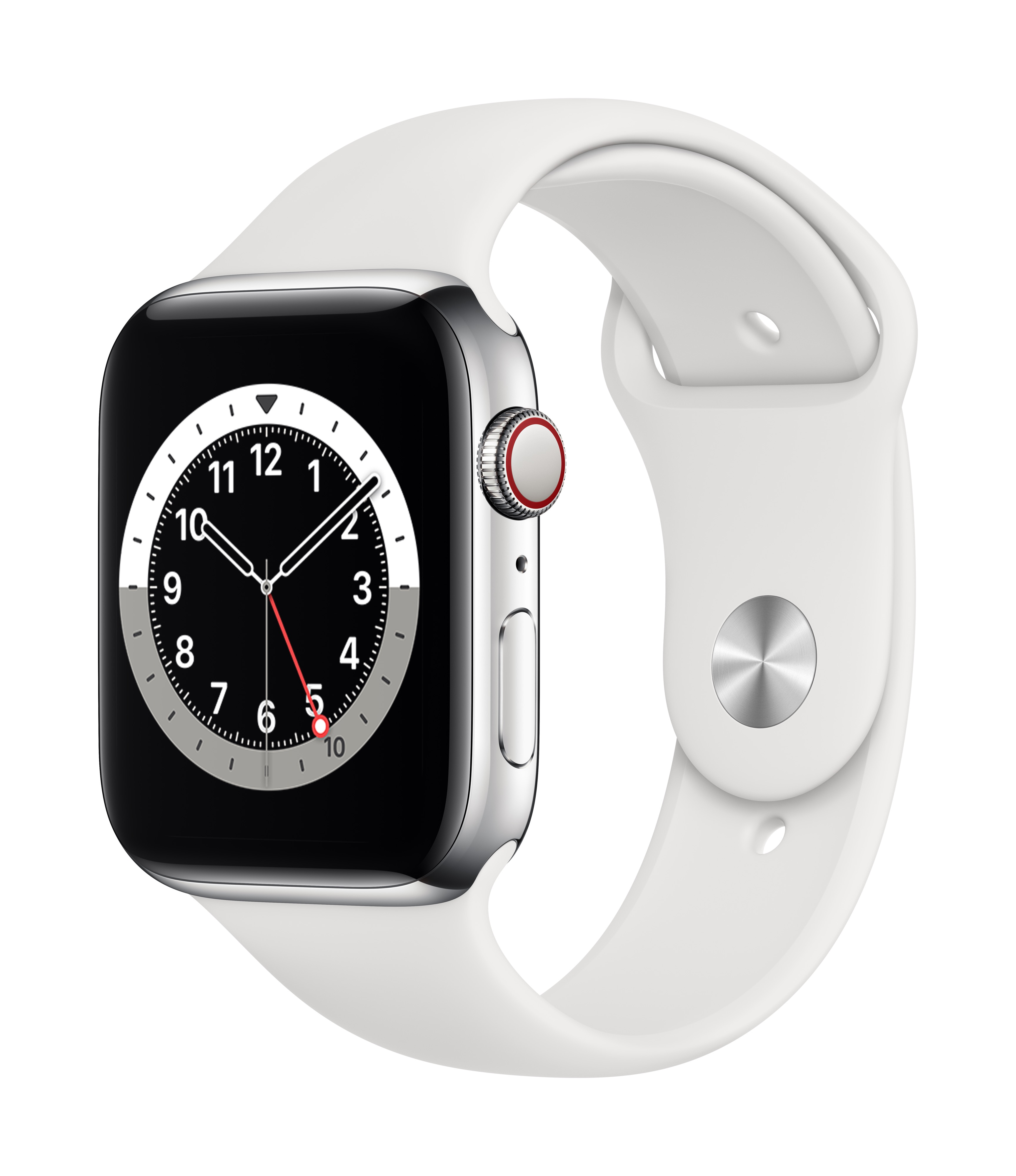 Apple Watch Series 6 GPS + Cellular 44mm Silver Aluminum w/ White Sport Band at Small Dog Electronics