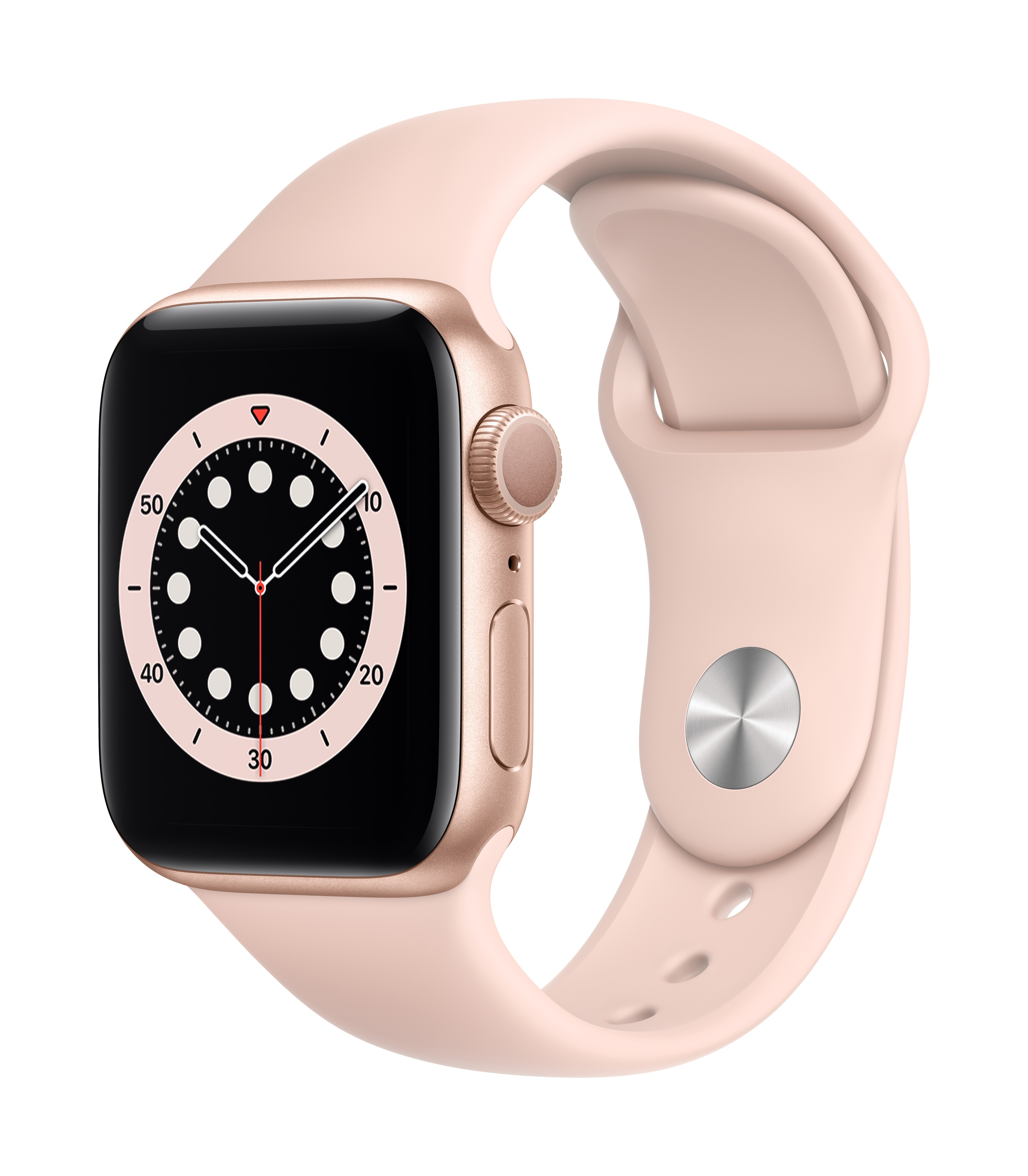 Apple Watch Series 6 GPS 40mm Gold Aluminum w/ Pink Sand Sport Band at Small Dog Electronics