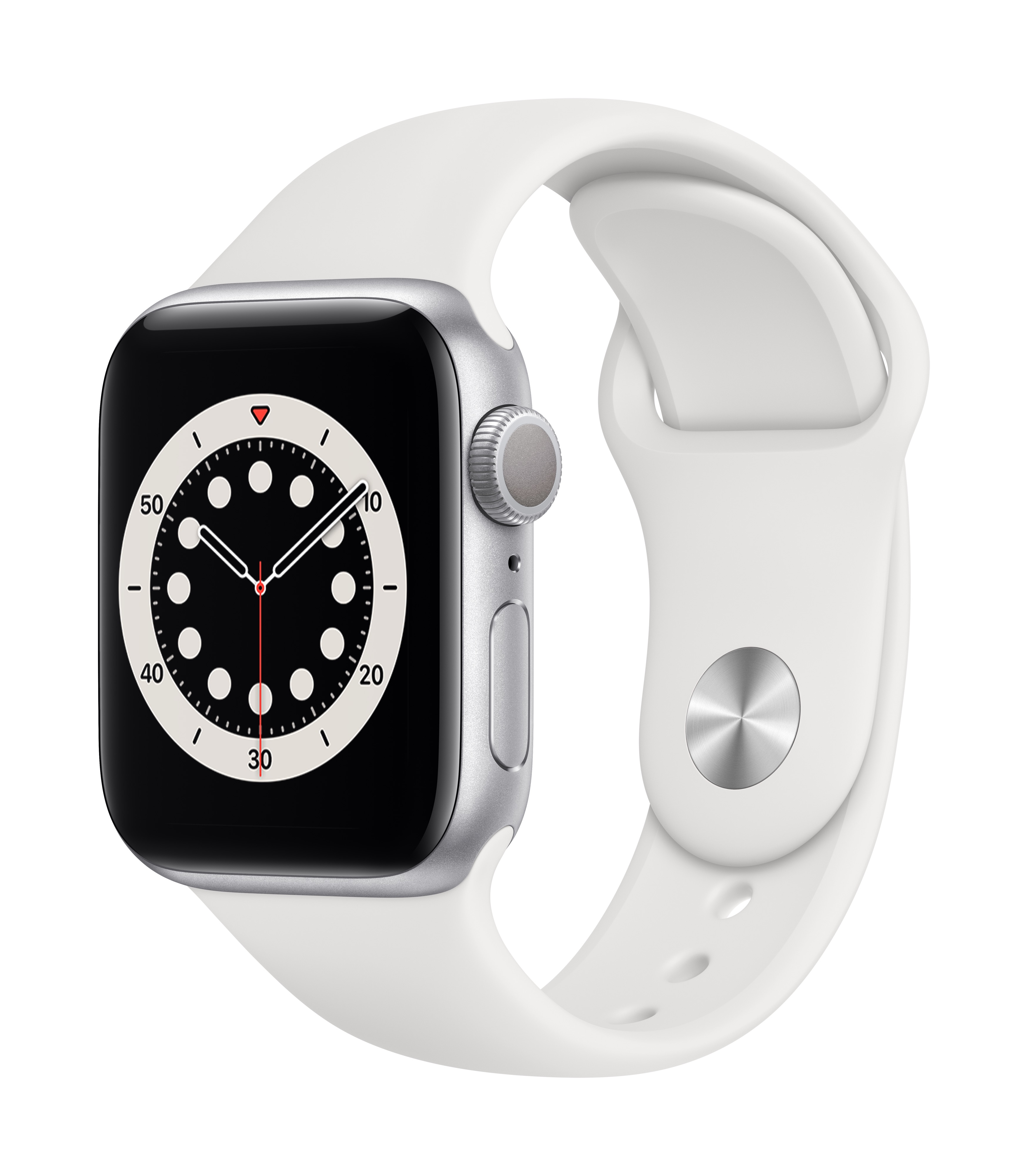 Apple Watch Series 6 GPS 40mm Silver Aluminum w/ White Sport Band at Small Dog Electronics