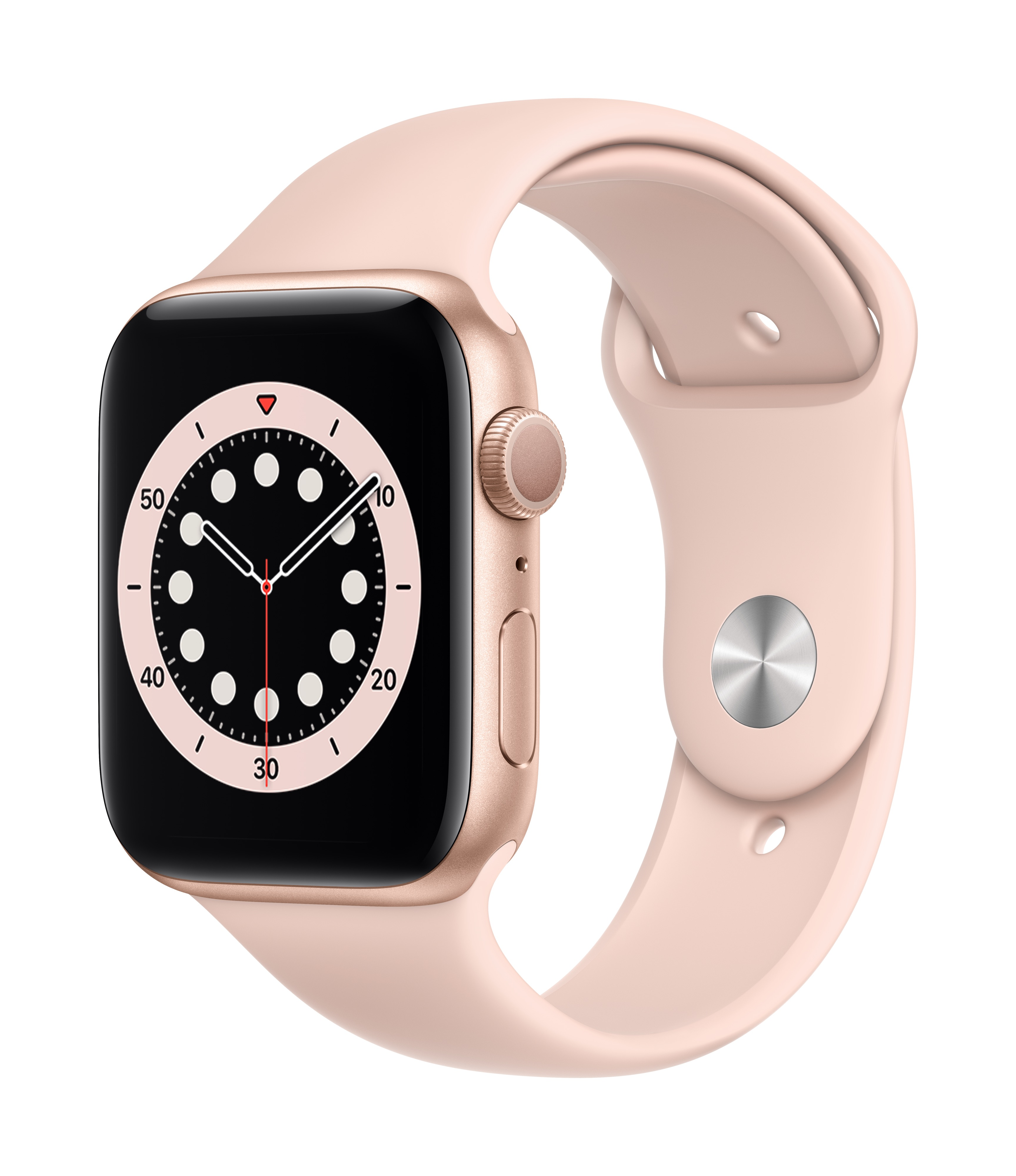 Apple Watch Series 6 GPS 44mm Gold Aluminum w/ Pink Sand Sport Band at Small Dog Electronics