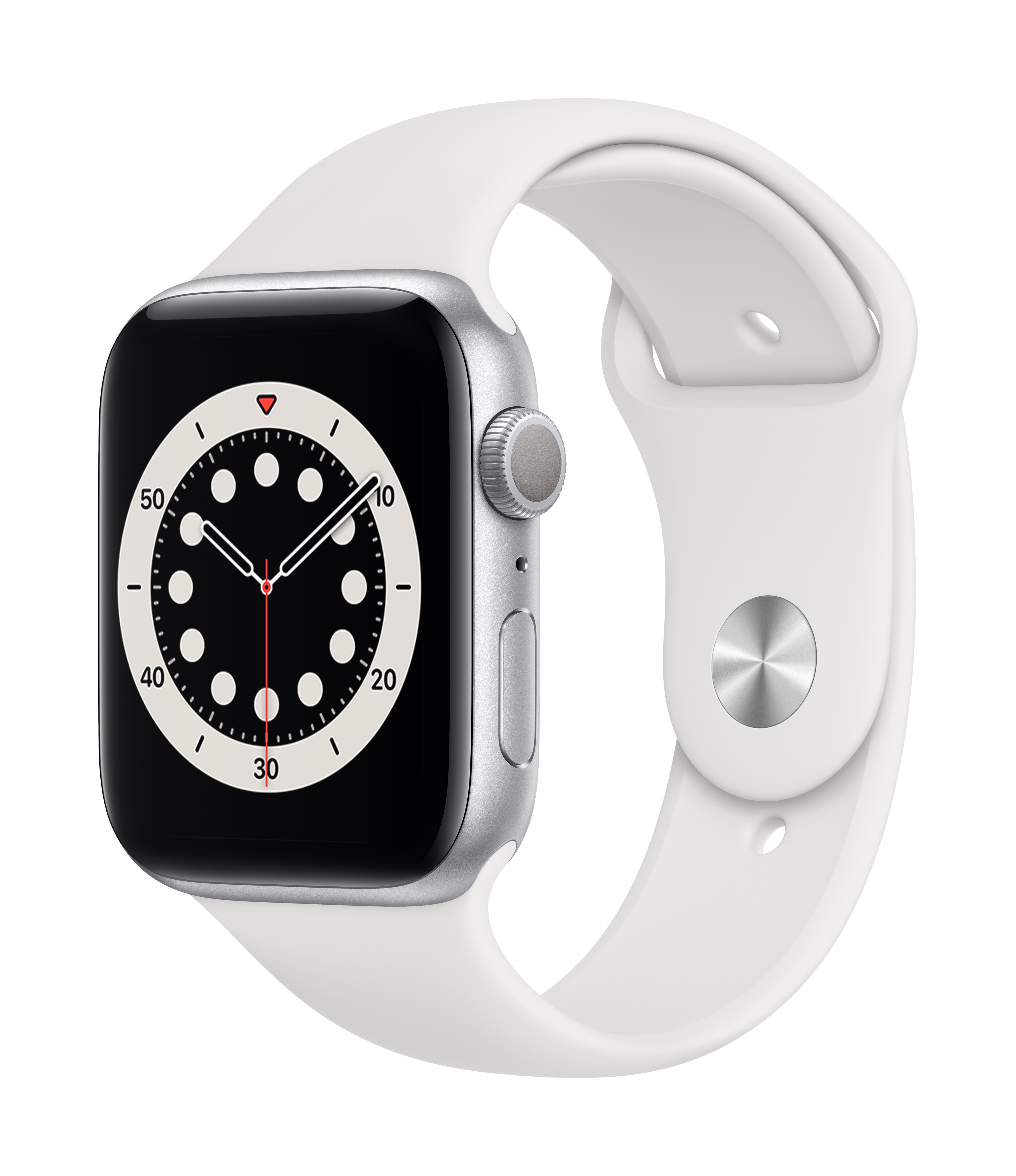 Apple Watch Series 6 GPS 44mm Silver Aluminum w/ White Sport Band at Small Dog Electronics