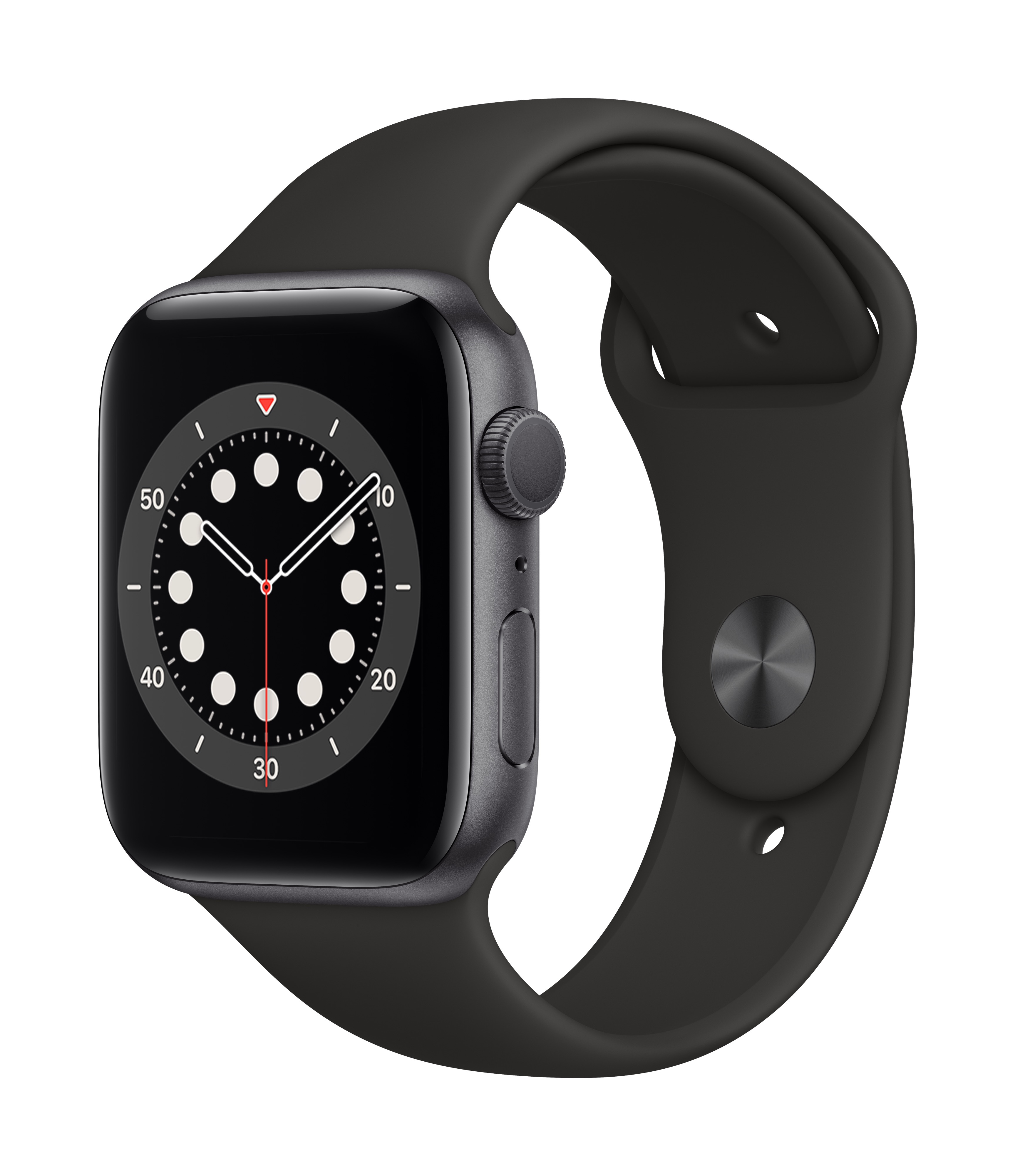 Apple Watch Series 6 GPS 44mm Space Gray Aluminum w/ Black Sport Band at Small Dog Electronics