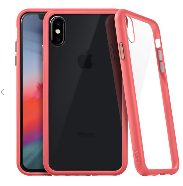 Laut Accents Tempered Glass Case for iPhone X/Xs - Coral at Small Dog Electronics