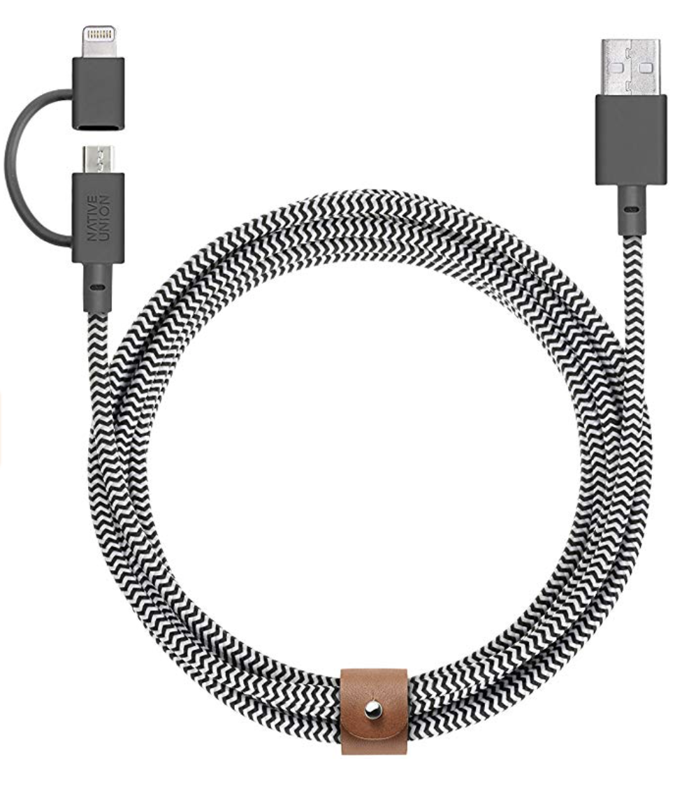 Native Union Belt Cable Twin Head Lightning Cable 2m - Zebra at Small Dog Electronics